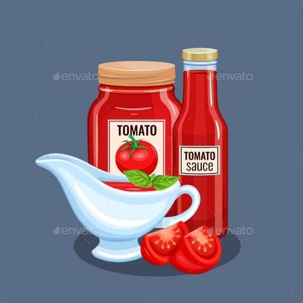 Tomato Sauce Bottle and Saucers - Food Objects