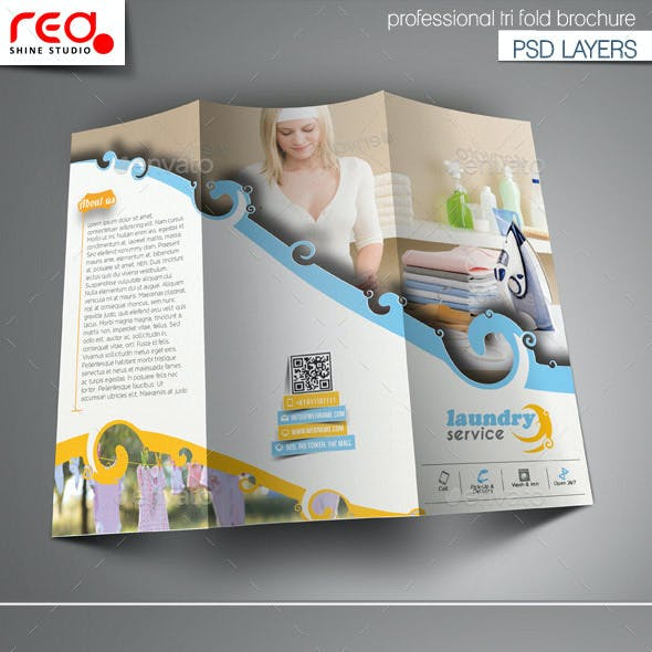 Laundry Service Trifold Brochure Template