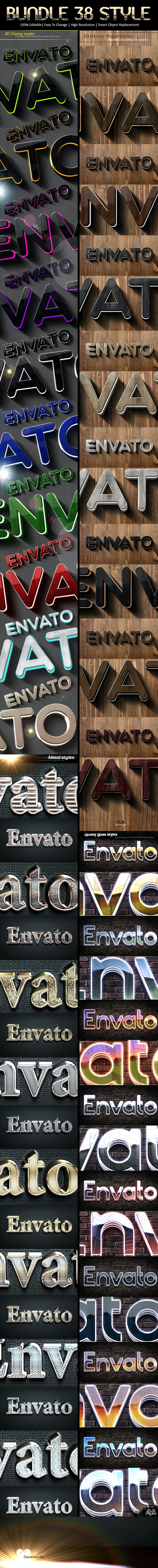 Bundle 3d Glossy Styles - Text Effects Styles