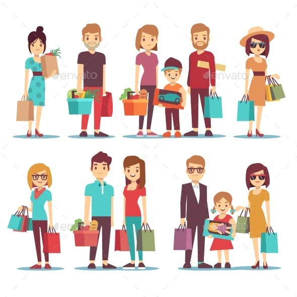 People Shopping in Mall Vector Cartoon Characters