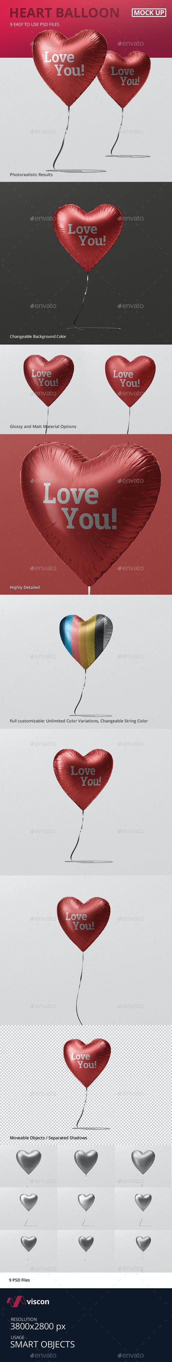Valentine Heart Balloon Mockup - Miscellaneous Print