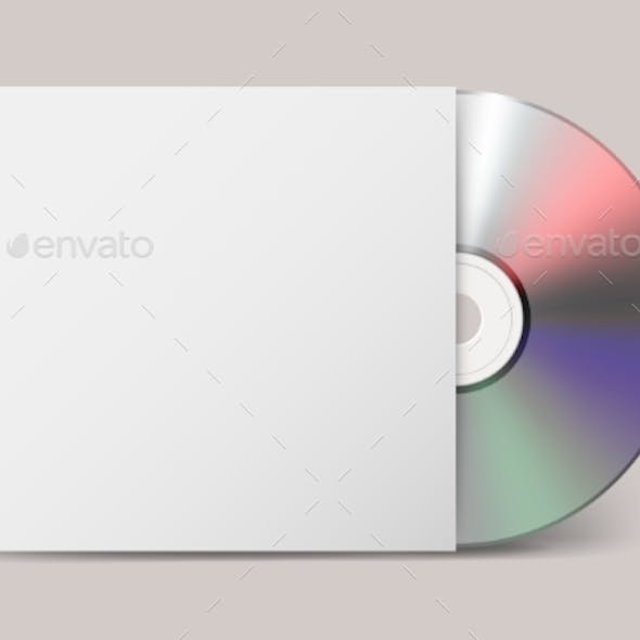 Realistic Vector CD with Cover Icon