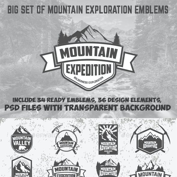Set of Mountains Emblems and Design Elements