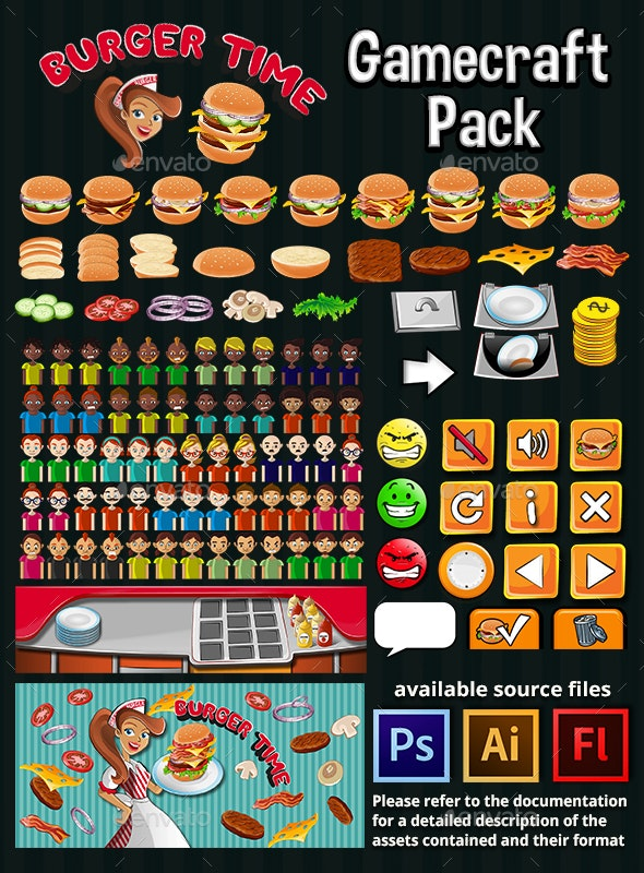 Burger Time Game Assets - Game Kits Game Assets