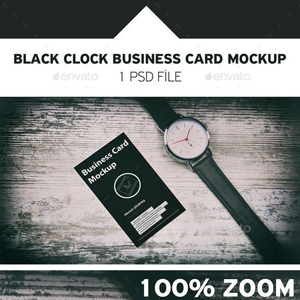 Wood Background Card Clock Mockup