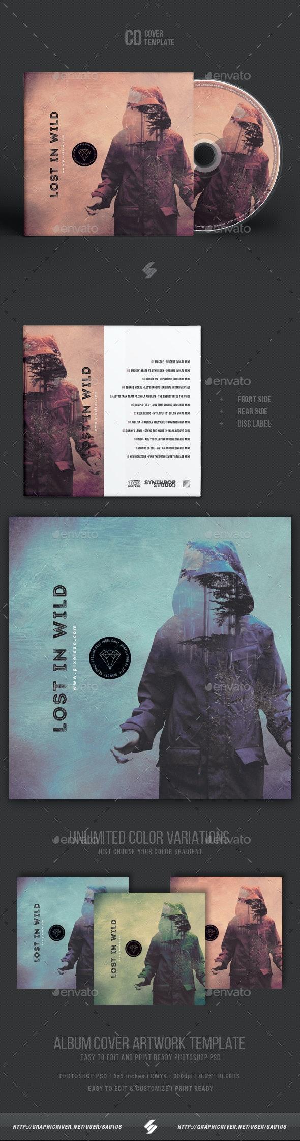 Lost in Wild - CD Cover Artwork Template - CD & DVD Artwork Print Templates