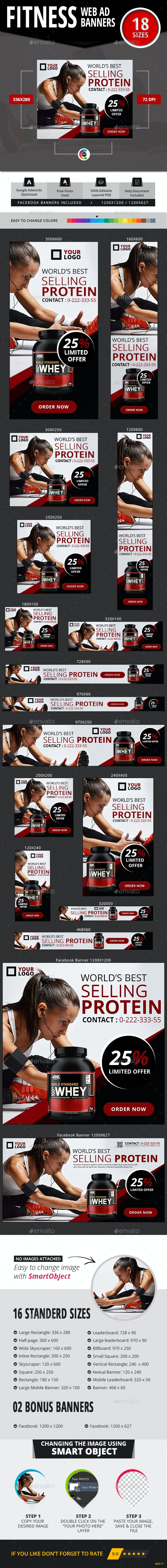Banners for Fitness Product - Banners & Ads Web Elements