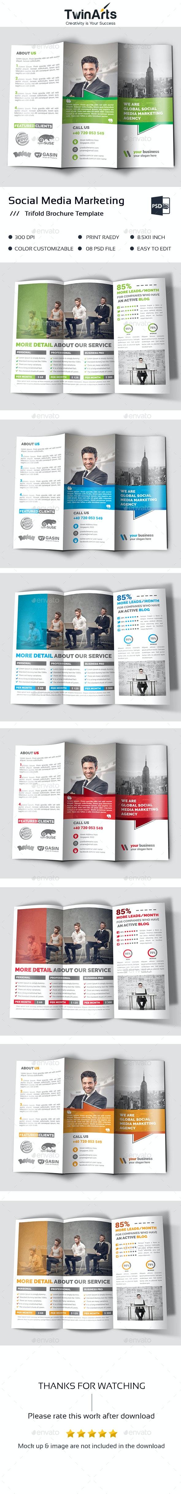 Social Media Marketing Trifold - Brochures Print Templates
