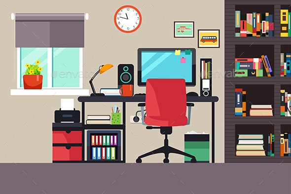 Home Office in Flat Style - Buildings Objects