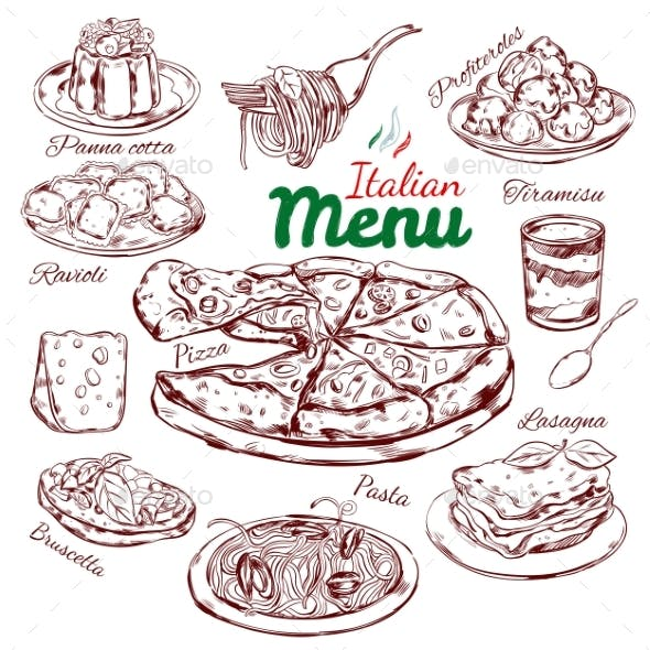Italian Food Sketch Collection