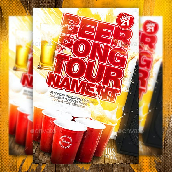 Beer Pong Tournament Flyer Template