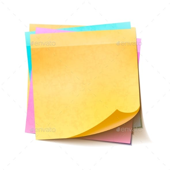 Different Colorful Sticky Notes in Pile on White