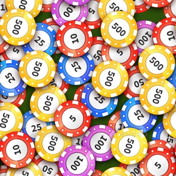 Different Colorful Casino Chips on Green Cloth