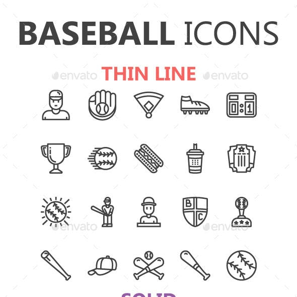 Baseball Icons in 3 styles