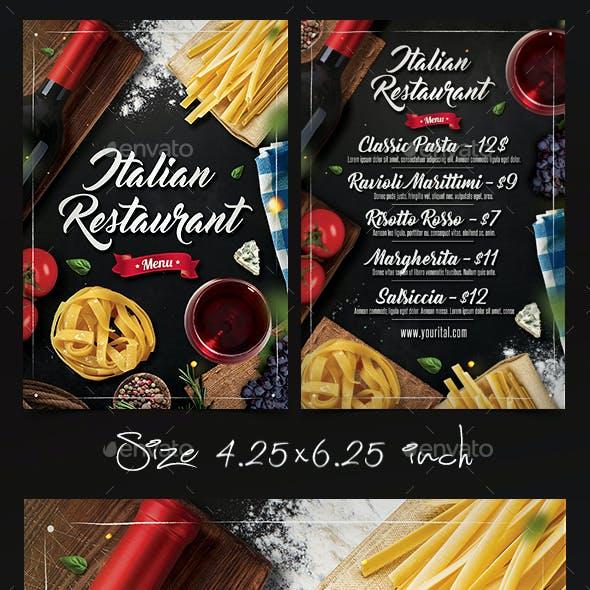 Italian Restaurant Menu Flyer