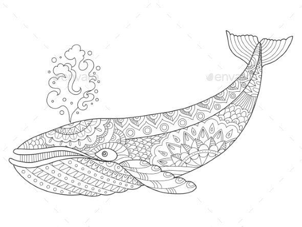 Whale Coloring Book Vector Illustration