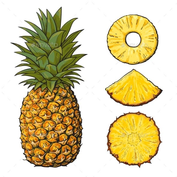 Whole Pineapple and Slices