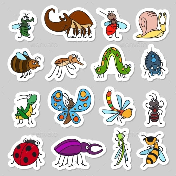 Insects and Bugs Stickers Set