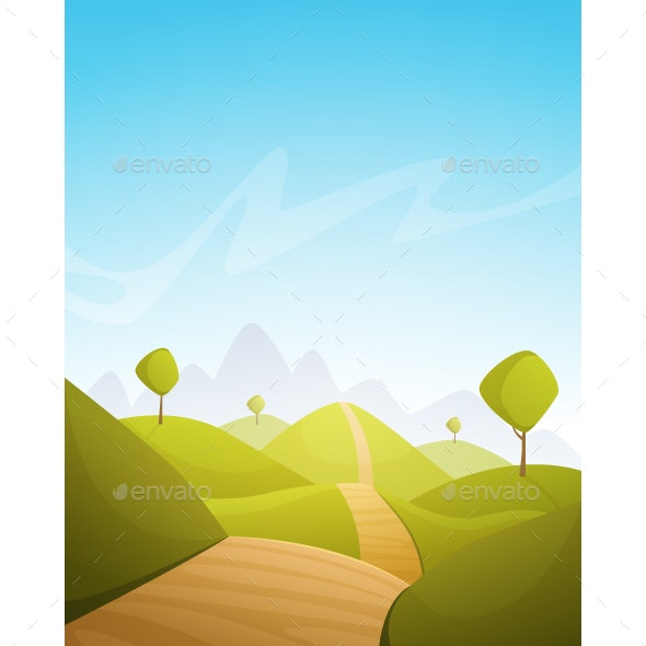 Countryside Cartoon Landscape - Landscapes Nature