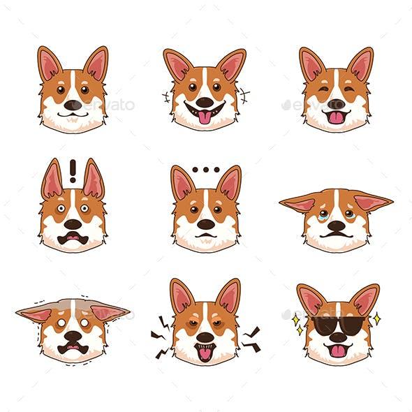 Corgi Dog Emoji Emoticon Expression