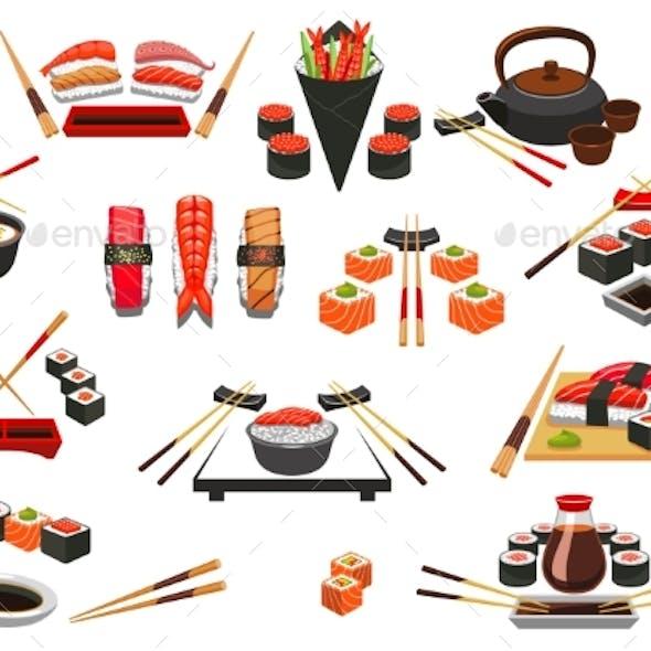 Seafood, Sushi, Sashimi Vector Icons and Emblems