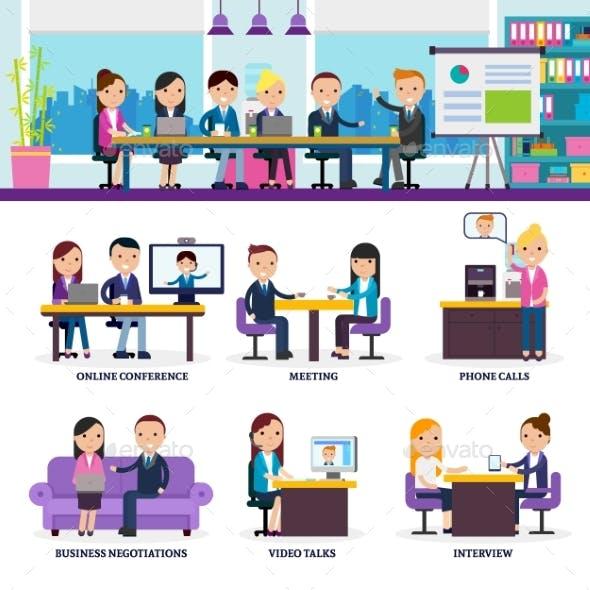 Business People Meeting Set