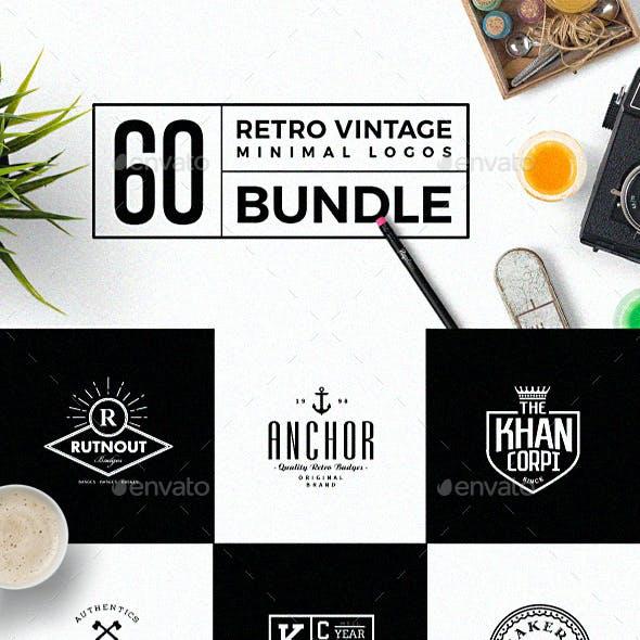 60 Vintage Minimal Logos Bundle