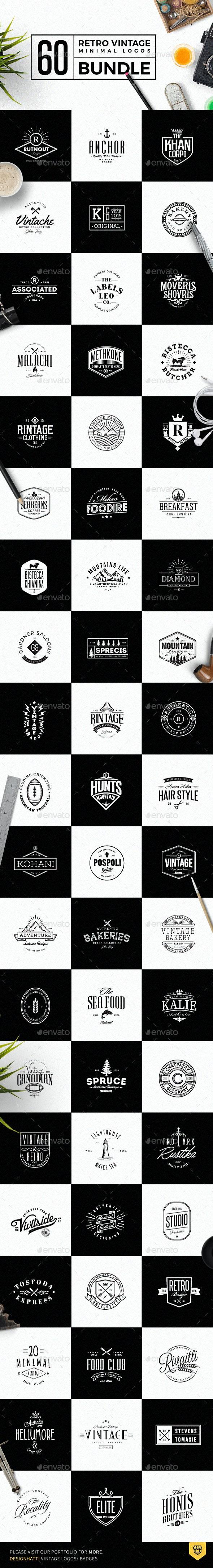 60 Vintage Minimal Logos Bundle - Badges & Stickers Web Elements