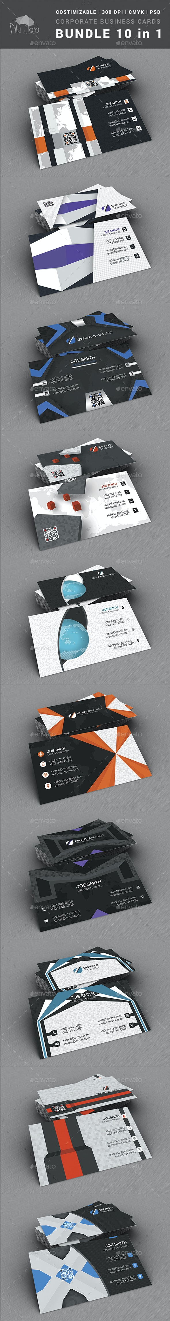 Corporate Business Cards BUNDLE 10 in 1 - Business Cards Print Templates