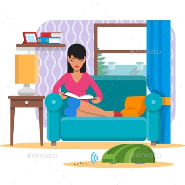 Woman Reading Book on Sofa While Vacuum Cleaner
