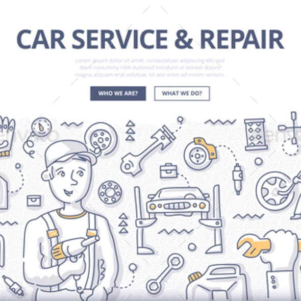 Car Service & Repair Doodle Concept