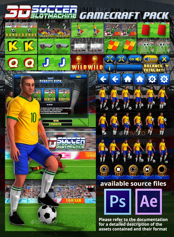 3D Soccer Slot Machine Game Assets - Game Kits Game Assets