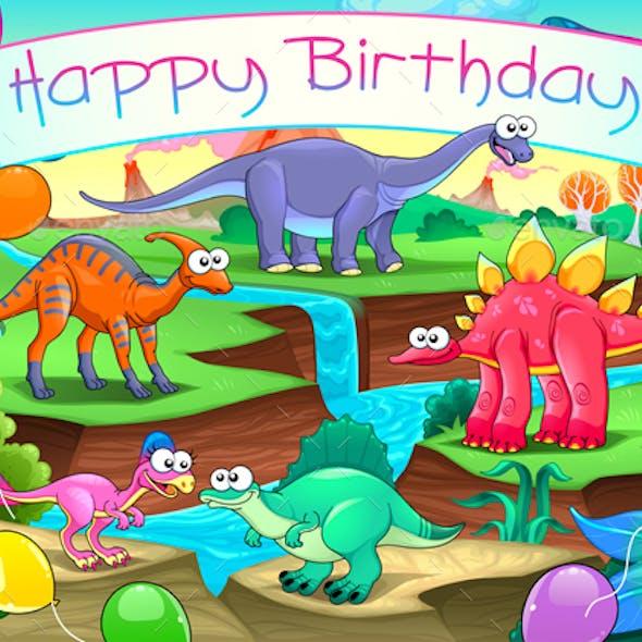 Happy Birthday Card with Dinosaurs