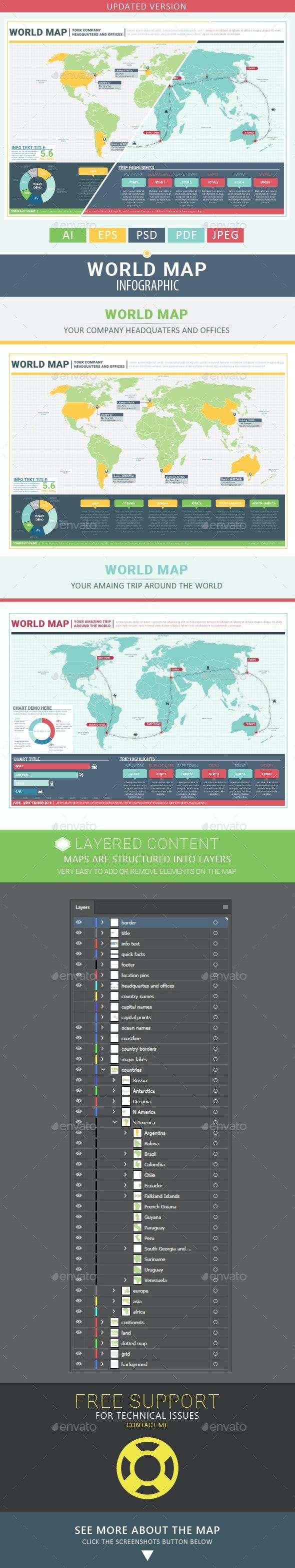 World Map - Infographics