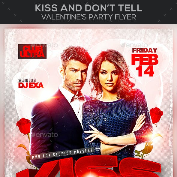 Kiss And Don't Tell Valentine's Party Flyer