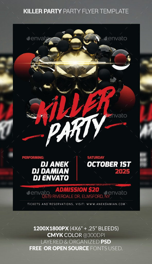 Killer Party —Party Flyer Template - Clubs & Parties Events
