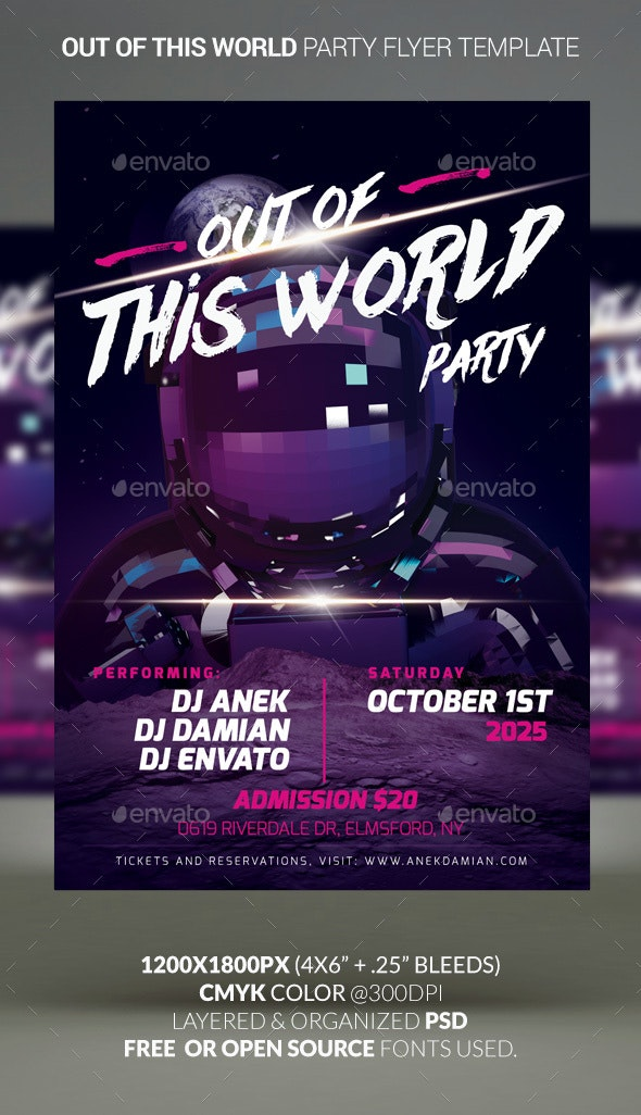 Out Of This World Party — Party Flyer Template - Clubs & Parties Events