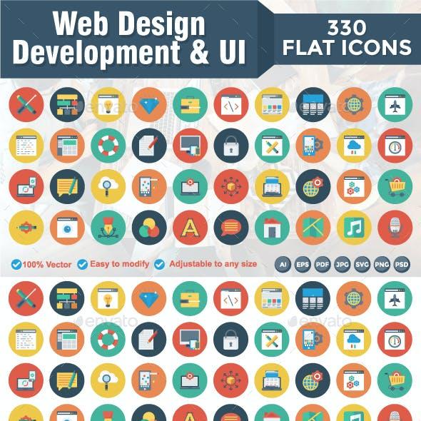 330 Flat Circle Web Design Developemnt & UI Icons