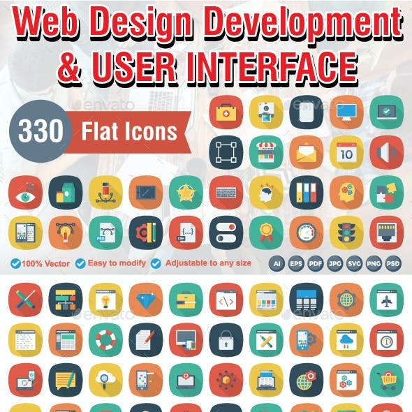 330 Flat Square Shadow Web Design Developemnt & UI Icons