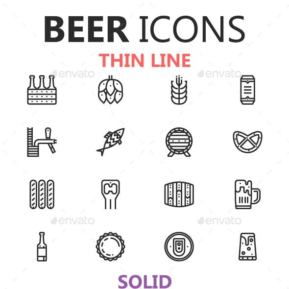 Beer Icons in 3 Styles