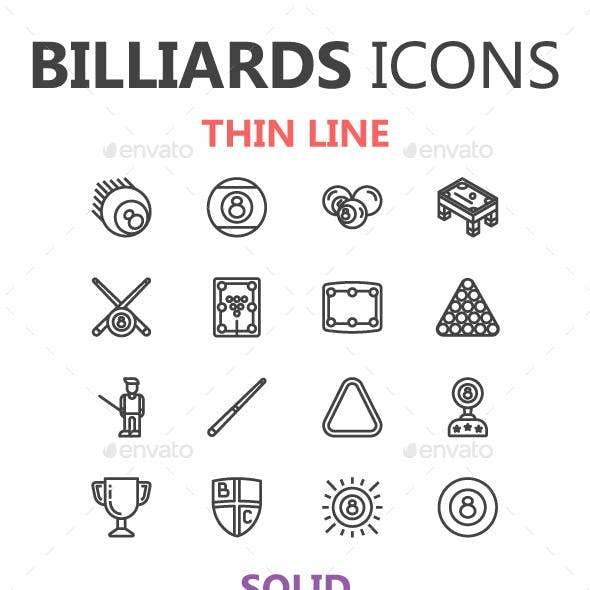 Billiards Icons in 3 Styles
