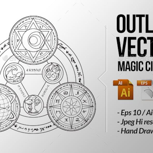 Magic Circles Outline Vector Illustration