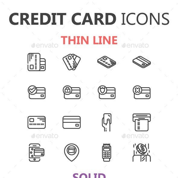Credit Card Icons in 3 Styles