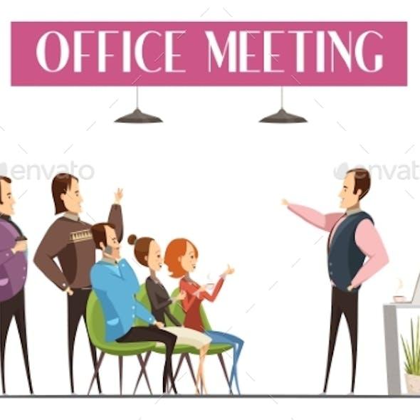 Office Meeting Cartoon Style Design