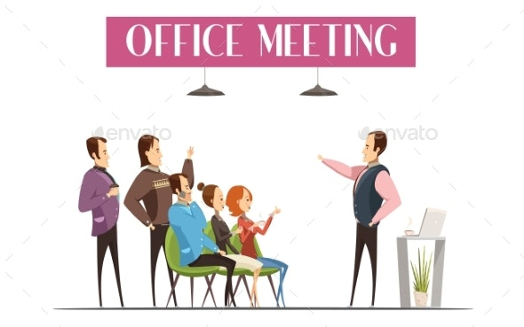 Office Meeting Cartoon Style Design - People Characters