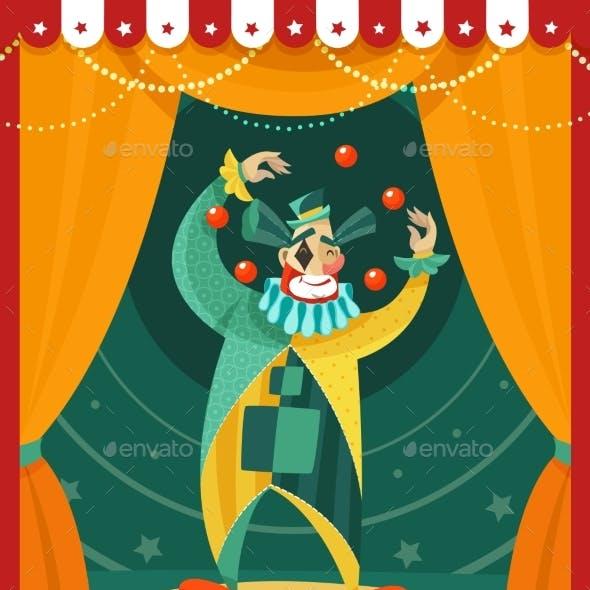 Circus Clown Juggling Performance Poster