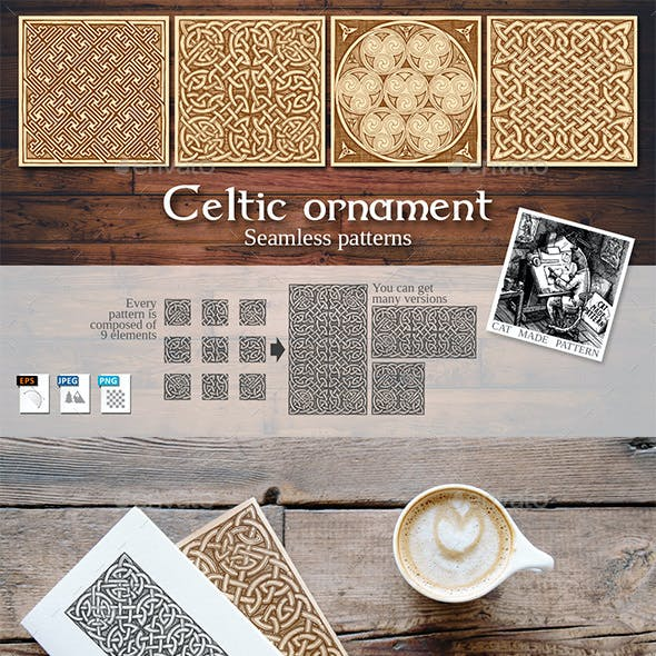 4 Celtic Seamless Patterns