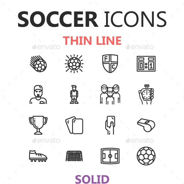 Soccer Icons in 3 Styles