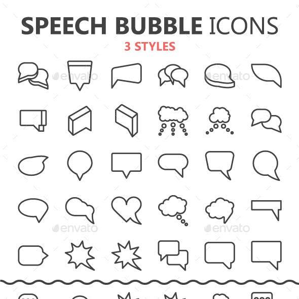 Line Speech Bubbles in 3 styles