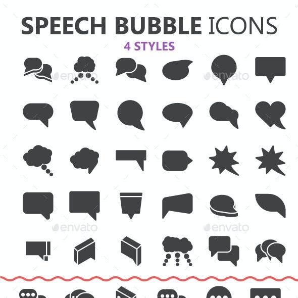 Solid Speech Bubbles in 4 styles